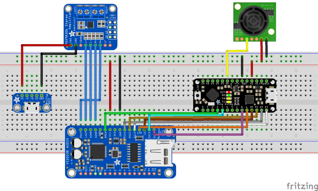 hight resolution of the wiring diagram includes micro usb power stereo 3 7w class d audio amplifier adafruit vs1053 mp3 aac ogg midi wav codec breakout audio player