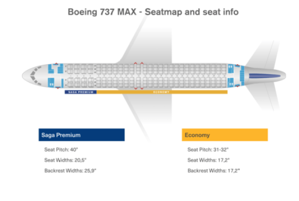 Icelandair's MAX 8 seat map - there are 144 standard seats and 16 in Saga Class. Graphic courtesy of Icelandair