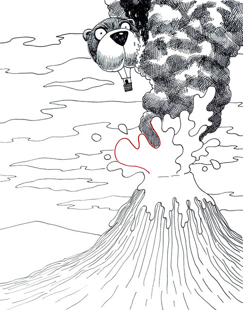 Hot Air Balloon Flying Over a Volcano