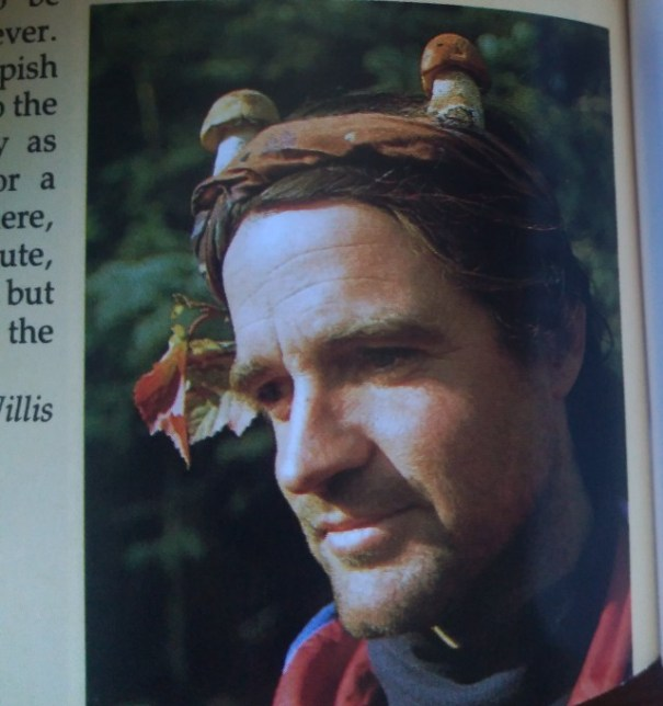 A man looking contemplative, wearing a headband with two mushrooms positioned in it like antlers.
