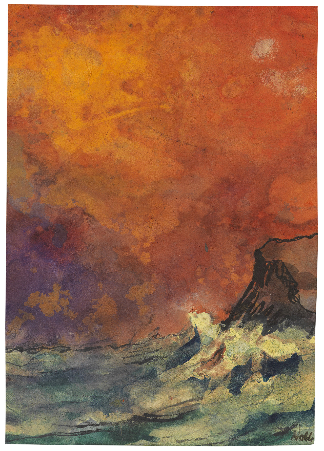 Emil Nolde (1867-1956) Brandung - Surf (c. 1937) watercolor with pen and brush ink drawing 18.2 x 12.9 cm