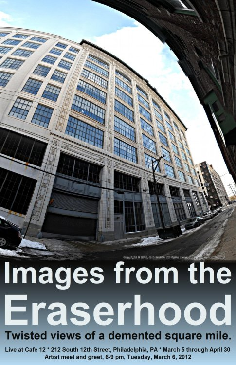 Work from eraserhood.com featured in Photographic Society March 2010 Solo Show, a set on Flickr. These images, from here at eraserhood.com/, will be featured in the Photographic Society of Philadelphia solo show for March. They will be available for viewing and purchase from March 6 until April 30 at:  Cafe 12 212 South 12th Street Philadelphia, PA Artist meet and greet, 6-9pm, Tuesday, March 6, 2012