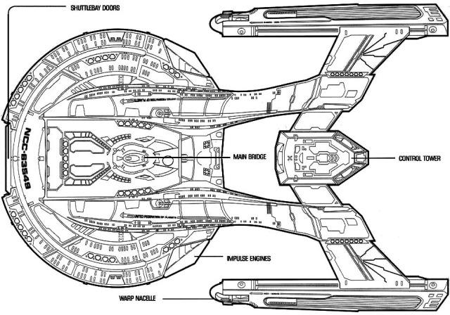 Starfleet ships — Akira-class dorsal and ventral schematics