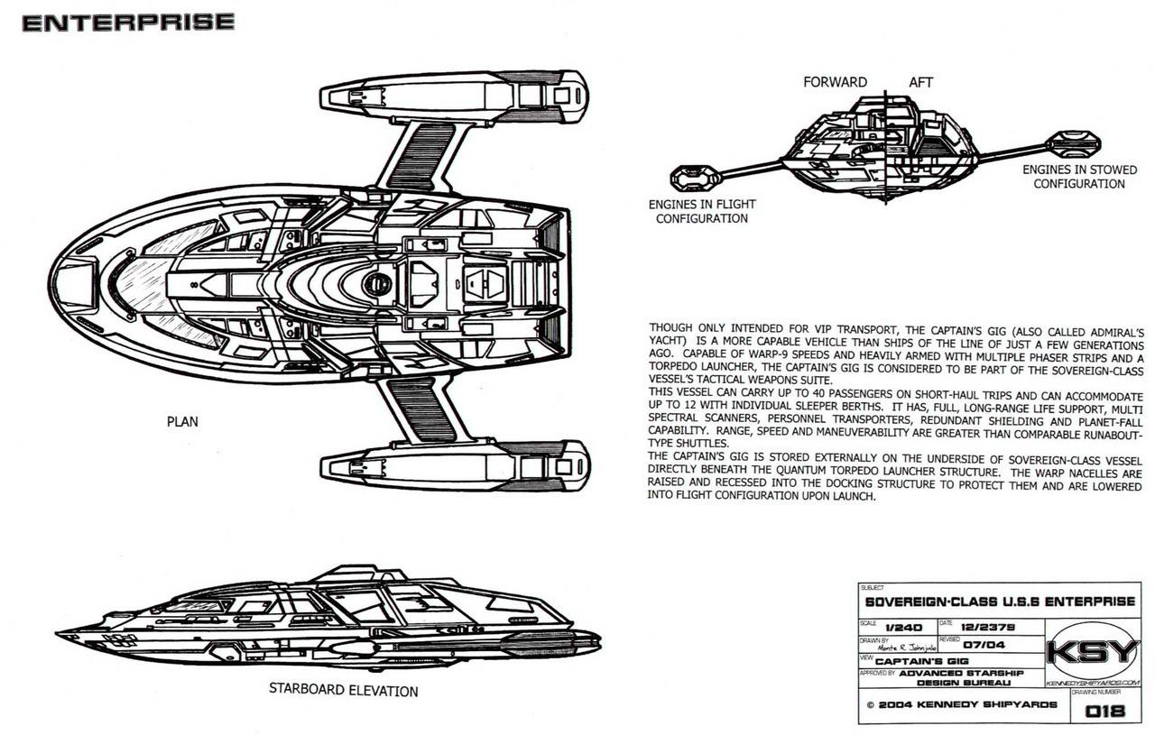 Starfleet ships — Sovereign-class captain's yacht schematics