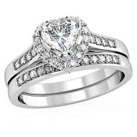 Heart Shape Simulated Diamond Wedding Set on Luulla