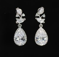 Cubic Zirconia Leaves And Branches Earring With Teardrop ...