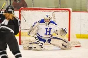 Hamilton College goaltender Sam Walther (30)