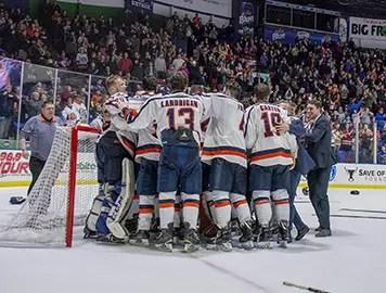 Utica College Hockey Team Celebrates win