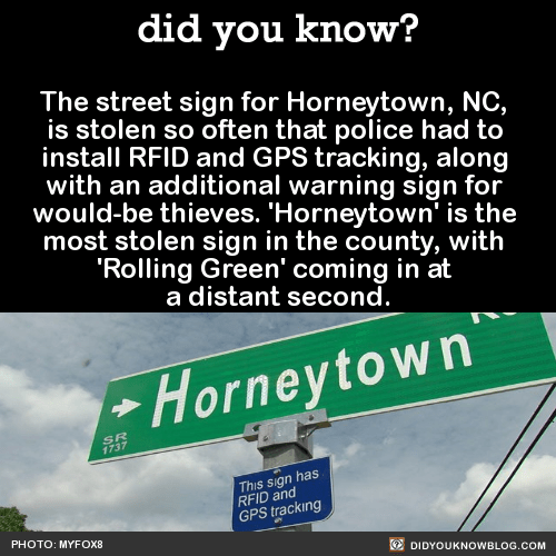 The street sign for Horneytown, NC, is stolen so often that police had to install RFID and GPS tracking, along with an additional warning sign for would-be thieves. 'Horneytown' is the most stolen sign in the county, with 'Rolling Green' coming in at...