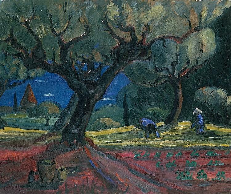 """huariqueje:"""" Bauern in Carqueiranne - Arturo 'Turo'Pedretti , 1930Swiss, 1896-1964Oil on cardboard, 40,5 x 51 cm"""""""
