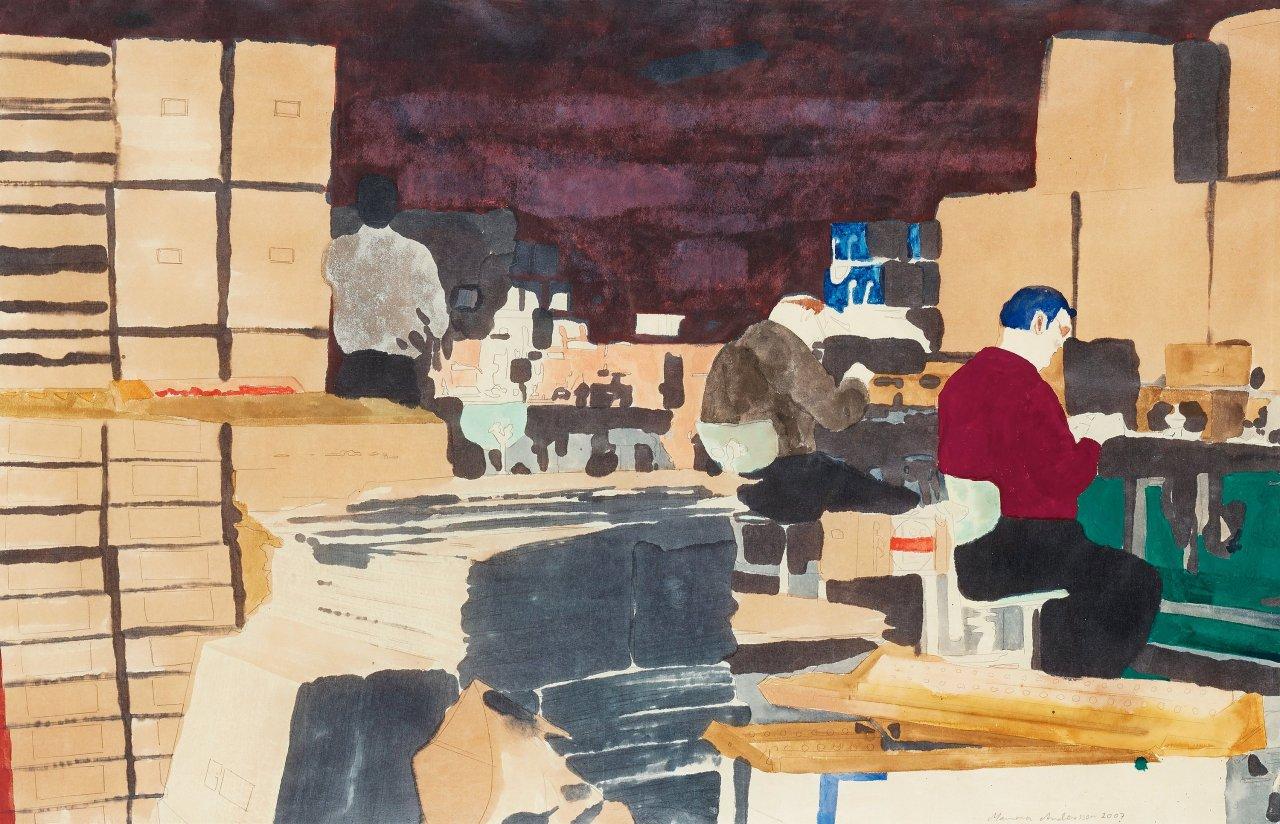 "thunderstruck9: "" Mamma Andersson (Swedish, b. 1962), Moonlighting, 2007. Watercolour, 63 x 98.5 cm. """