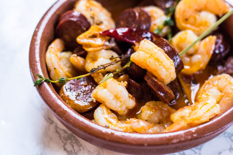 Gambas Al Ajillo Con Chorizo Or A Fresh Take On Mar I Muntanya The Manhattan Food Project
