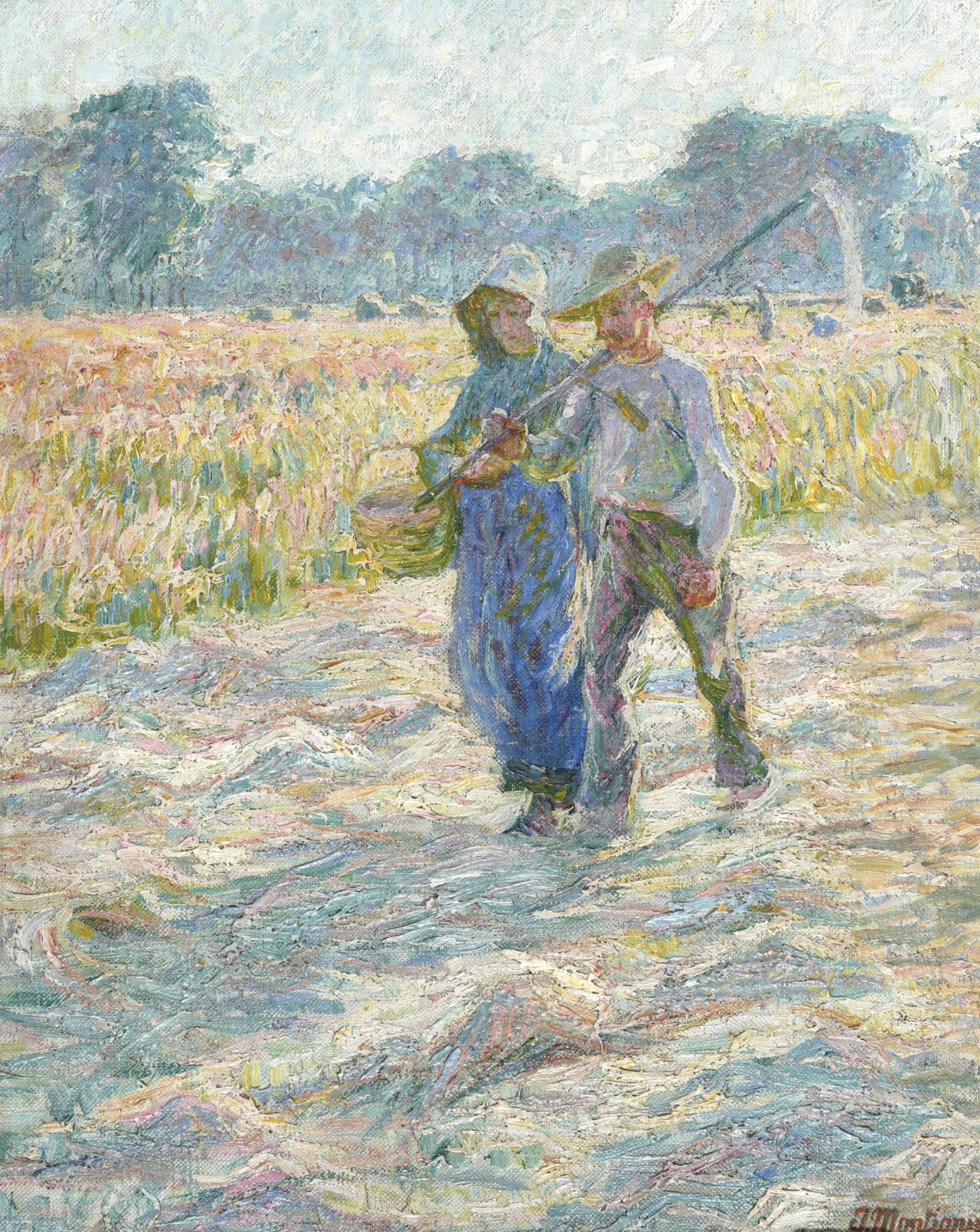 "amare-habeo: "" Jenny Montigny (Belgian, 1875 - 1937) Couple of farmers in fields, N/D Oil on canvas, 62 x 48 cm """
