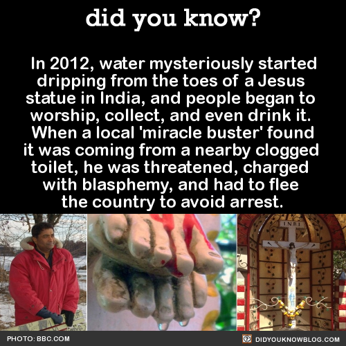 In 2012, water mysteriously started dripping from the toes of a Jesus statue in India, and people began to worship, collect, and even drink it. When a local 'miracle buster' found it was coming from a nearby clogged toilet, he was threatened, charged...