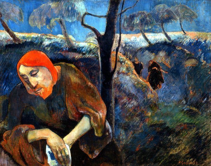 "urgetocreate: "" Paul Gauguin, Christ in the Garden of Olives, 1889, (showing Jesus in Gethsemane) """