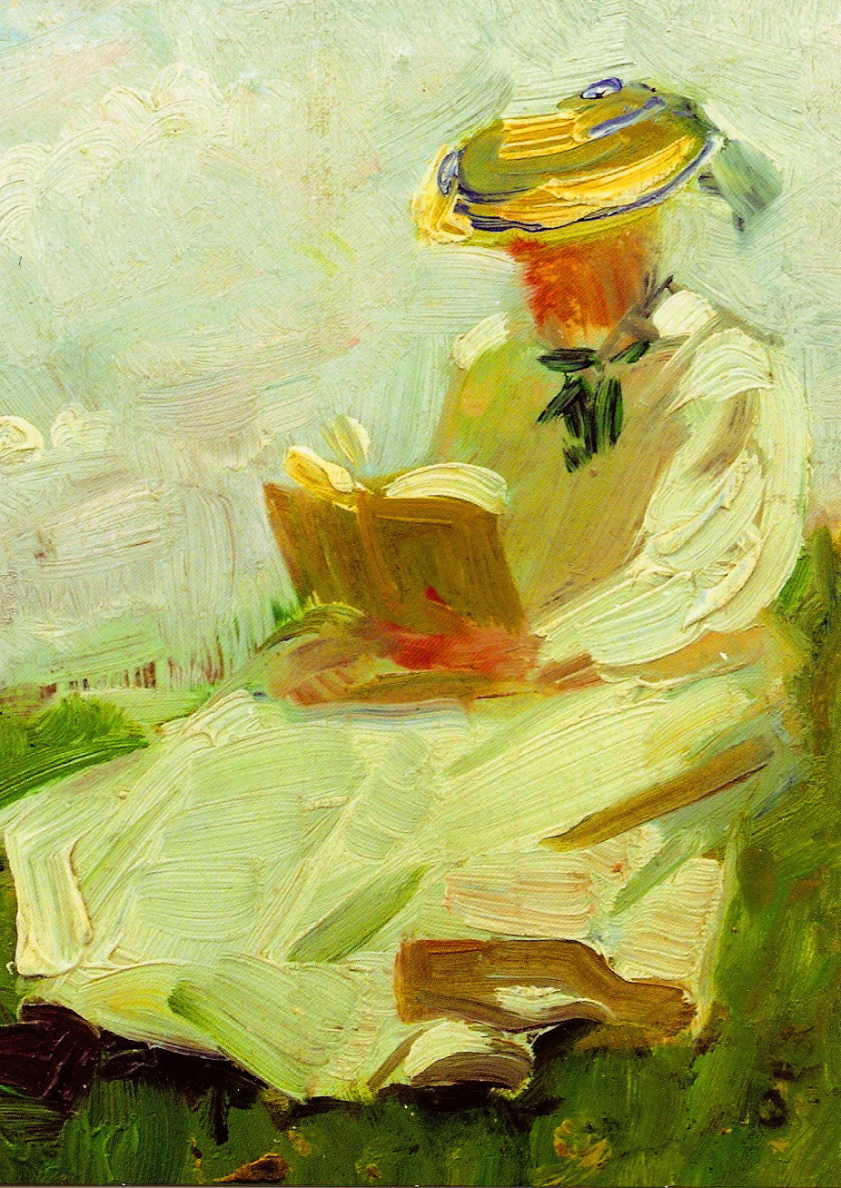 Woman Reading in the Grass (1906). Franz Marc (German, 1880-1916). Marc's early works were painted in a naturalistic academic style, but after discovering French Impressionist painting in 1903 he adopted a more modern approach, using simplified lines...