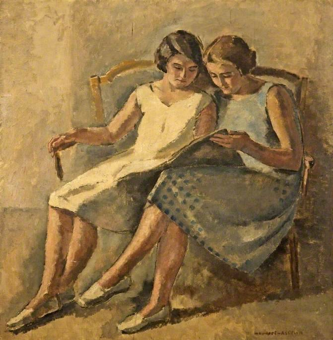 Two Girls Reading. Maurice Asselin (French, 1882-1947). Oil on canvas. Cheltenham Art Gallery & Museum. Asselin studied in the atelier of Fernand Cormon at the Beaux-Arts, Paris. Cormon's teaching was academic and old-fashioned, and Asselin drew his...