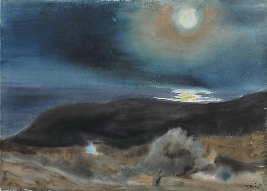 "huariqueje: "" The Moon - Tetsis Panagiotis , 1998 Greek, 1925-2016 Watercolor on paper, 74,7 x 105 cm. """