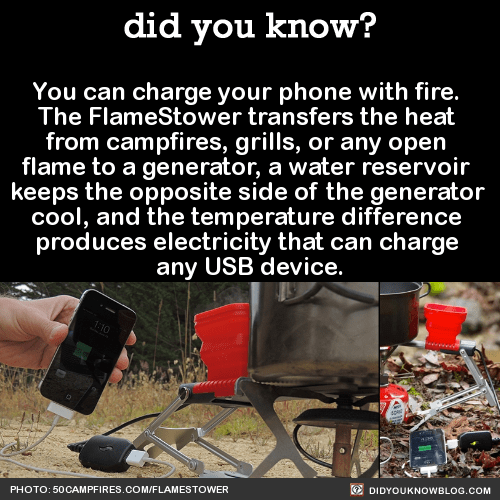 You can charge your phone with fire. The FlameStower transfers the heat from campfires, grills, or any open flame to a generator, a water reservoir keeps the opposite side of the generator cool, and the temperature difference produces electricity that can charge any USB device. Source Source 2 Source 3