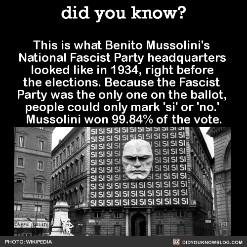 This is what Benito Mussolini's National Fascist Party headquarters looked like in 1934, right before the elections. Because the Fascist Party was the only one on the ballot, people could only mark 'si' or 'no.' Mussolini won 99.84% of the vote....