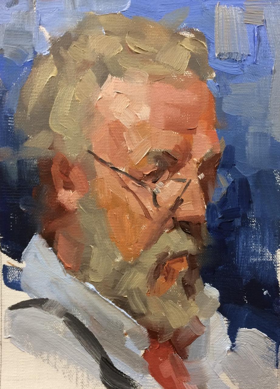 """metaphork: """" wattsatelier: """"Awesome Watts' student study, 40 min gesture portrait by Lucas Kremer in oil. """" Me- Portrait sitting """""""