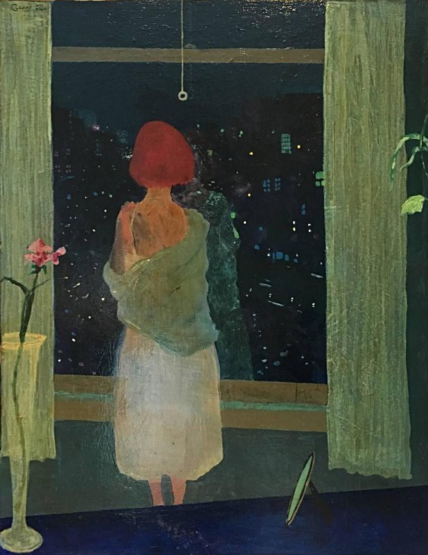 """lilithsplace: """" The Downtown Lights, 2000 (Interior self portrait of Jane in Hotel Chelsea NYC) Jane Gilday (b. 1951) oil on board    source: """""""
