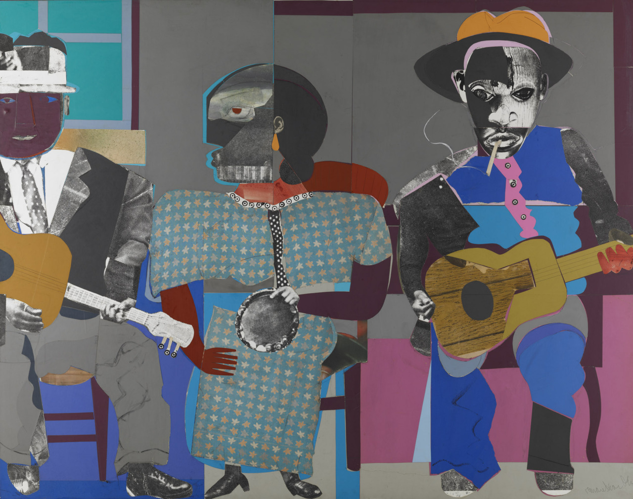 """thunderstruck9: """" Romare Bearden (American, 1911-1988), Soul Three, 1968. Paper and fabric collage on board, 111.76 x 140.97 cm. """""""