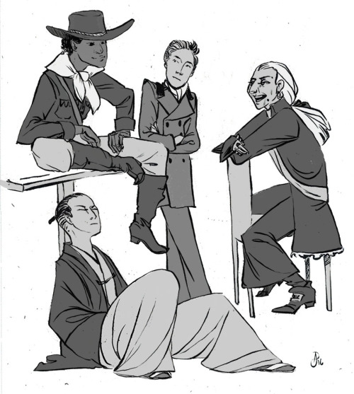 There was this post I saw yesterday about it being possible for there to a traveling group consisting of a victorian gentleman thief, an old west gunslinger, a disgraced former samurai, and an elderly french pirate at the same. Had to draw it, so...