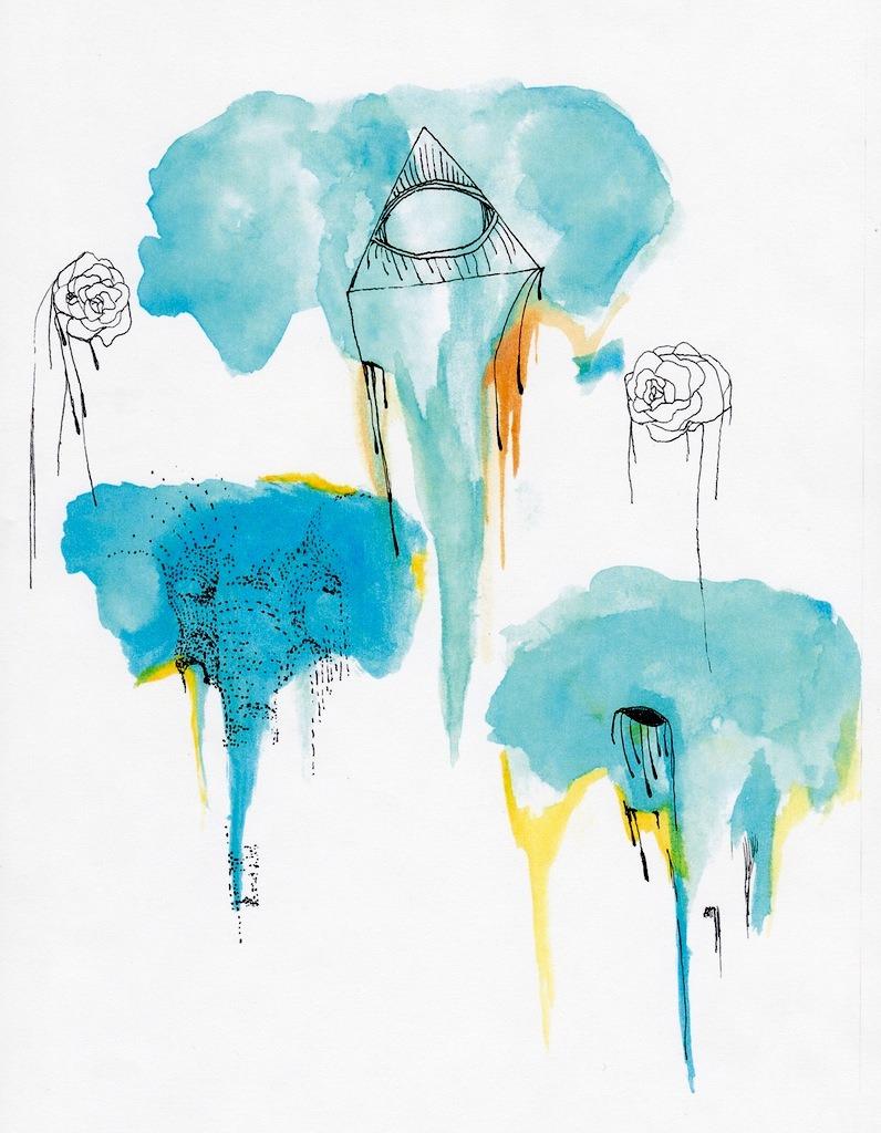 Elephants Watercolor & Ink -Bijan Souri