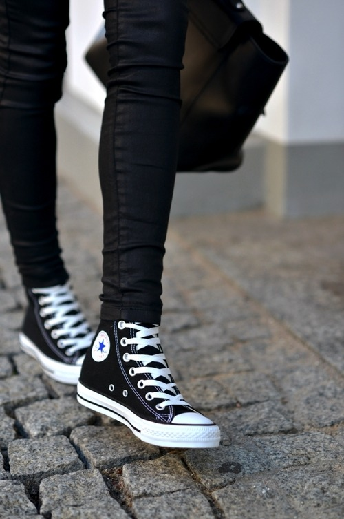 90s Fashion Revival Black High Top Converse