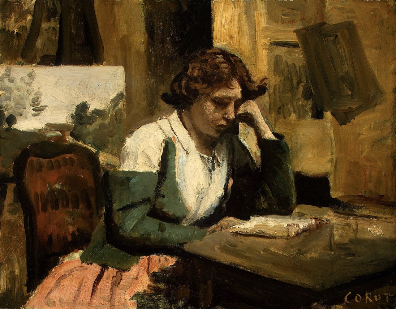 Corot - Young Girl Reading - c.1868