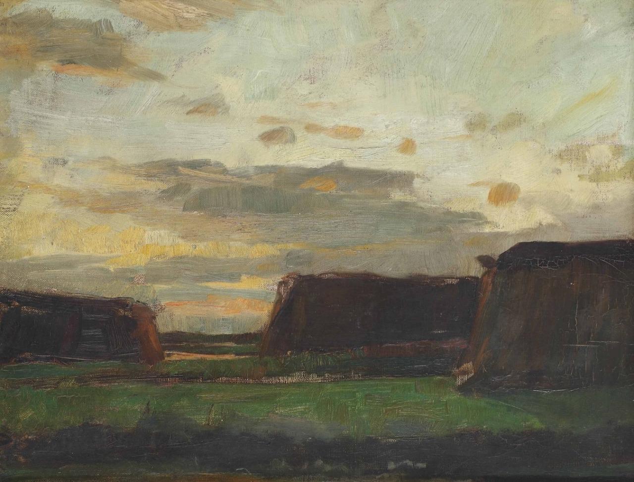 Piet Mondrian (1872-1944) Three haystacks in a field, circa 1907