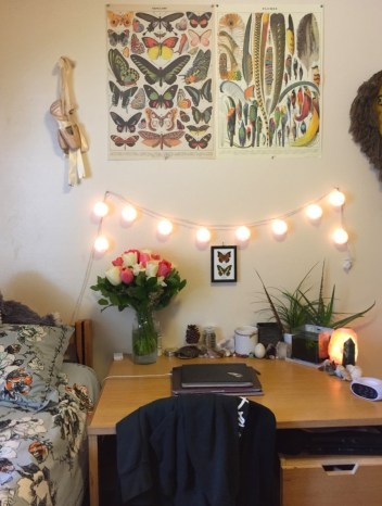 String lights above desk in dorm room on Clique Tips