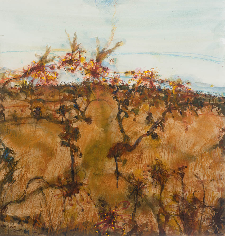 "thunderstruck9: "" John Olsen (Australian, b. 1928), Rydal - Grevilleas and Honeyeaters, 1999. Watercolour, pastel and synthetic polymer paint on paper, 100 x 94.5 cm. """