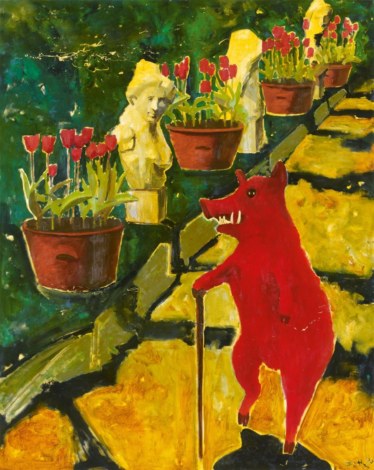 "thunderstruck9: ""Werner Büttner (German, b. 1954), Untitled (Bilanzpromenade), 2007. Oil on canvas, 150 x 120 cm. """