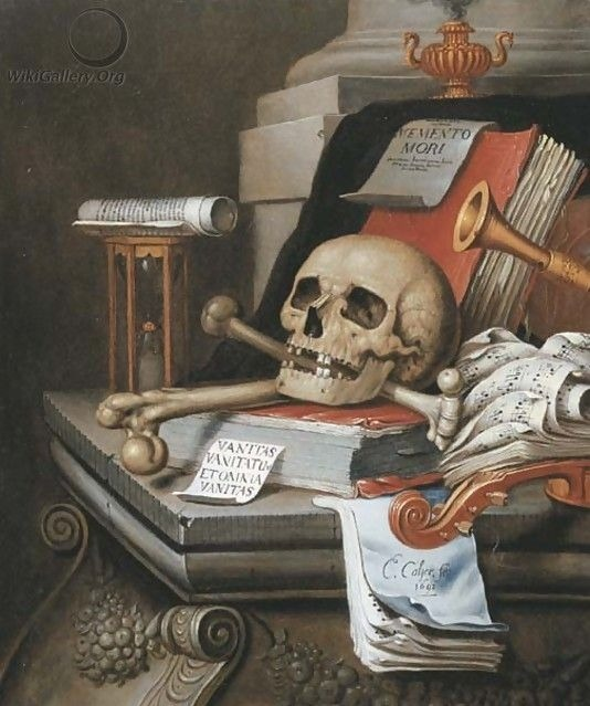 """""""A vanitas still life with an hour glass, a skull and crossbones, a scroll, two books, music scores, a flute, a violin, a sheet of paper."""" Oil on canvas. Edwaert Collier (Renaissance Dutch, 1630-50-1708). Known for vanitas still-life and trompe..."""