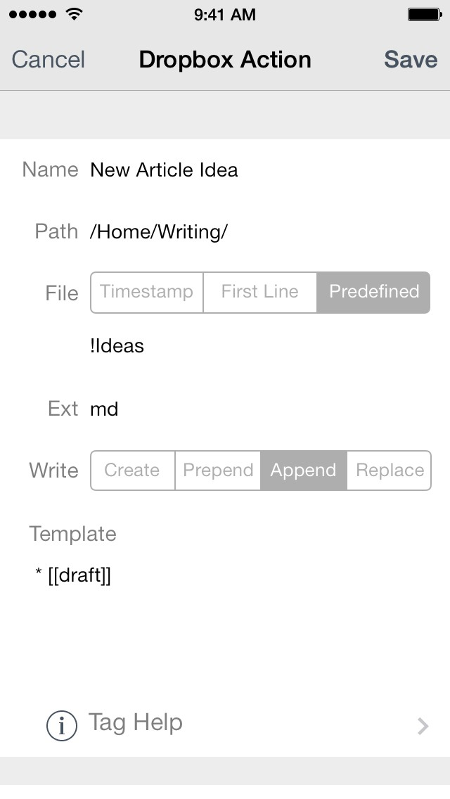 Drafts Workflow