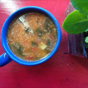 Fresh Quinoa, Spinach and Garbanzo Bean soup!