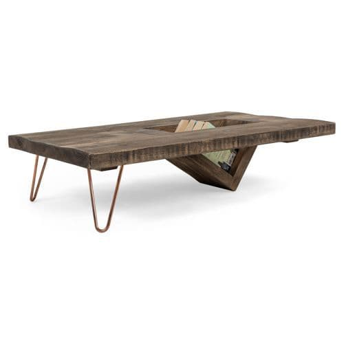 ouseburn solid wood coffee table with storage low hairpin legs