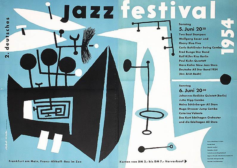 Günther Kieser, poster design for the second jazz festival Frankfurt, 1954. Germany.