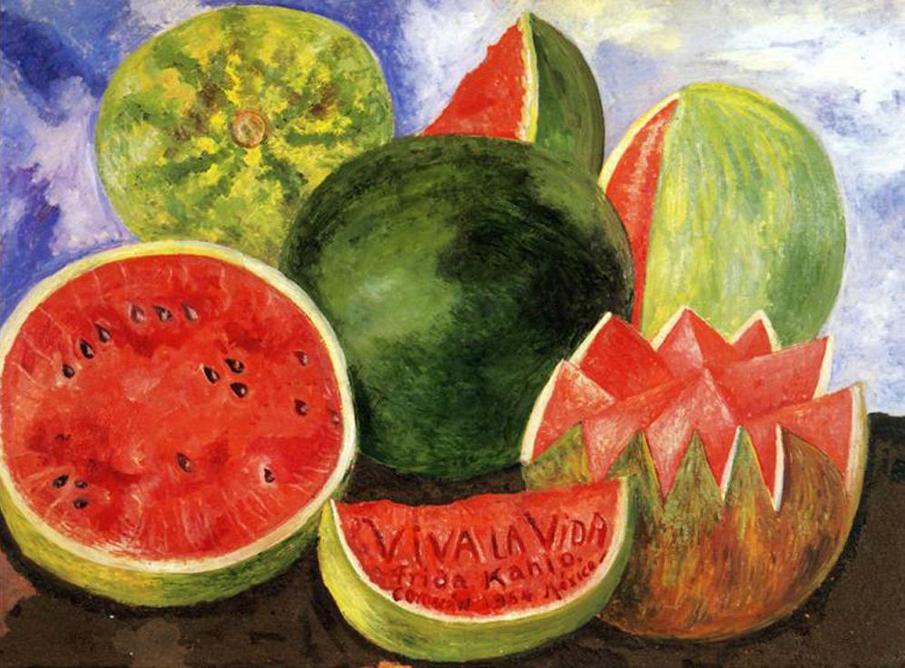 """Frida Kahlo - """"Viva la vida"""" (1954, óleo sobre masonite, 59 x 50 cm, Museo Frida Kahlo, Coyoacán, México) La sandía, una de las frutas que asociamos con el verano, es la protagonista de la última obra que firmó Frida Kahlo. Y digo """"firmó"""" porque los..."""