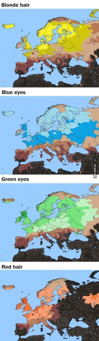 Percentage Frequency Of Light Hair And Light Eyes In And ...