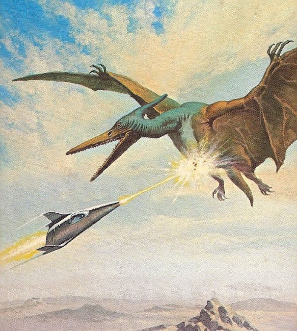 28410ccf0 Zapping a pterodactyl-like creature in Gino D'Achille cover art for a 1980  edition of The Avengers of Carrig by John Brunner.
