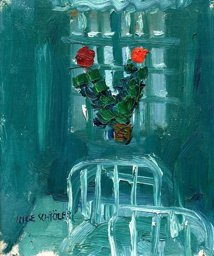 "huariqueje:"" Interior - Inge SchiölerSwedish,1908-1971oil on canvas laid on panel , 27 x 21,5 cm (10,6 x 8,5 in)"""