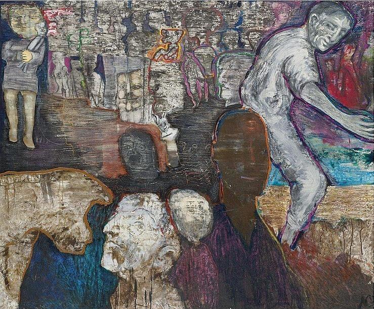 """terminusantequem: """"Luis Felipe Noé (Argentinian, b. 1933), CON LOS PIES EN EL BARRO. Mixed media and acrylic on canvas, 160 x 194.3 cm """""""