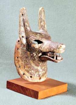 grandegyptianmuseum:   Head of Anubis, with a hinged jaw, used as an oracle mask. Anubis was the jackal-headed god of the dead, cemeteries and embalming in Egyptian mythology. New Kingdom, 19th Dynasty, ca.1292-1189 BC. Now in the Louvre.