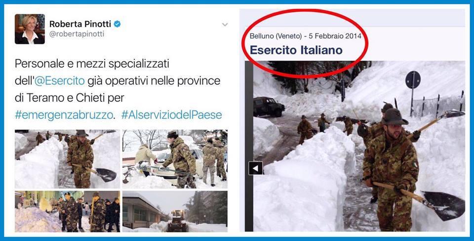 La Pinotti che pubblica foto del 2014 di militari che spalano neve, spacciandole per attuali, è l'emblema di questo governo di cazzari. (vento ribelle)