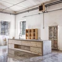 The Design Walker  Raw kitchen made of concrete and slabs ...