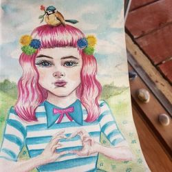 She's done, suggestions for a title anyone? #watercolors #portrait #artwork #doodle #doodleart #painting #journal #pencil #art #onesketchaday #scribble #perthartist #perthcreatives #perthy #naiveart #cuteart #fairytales