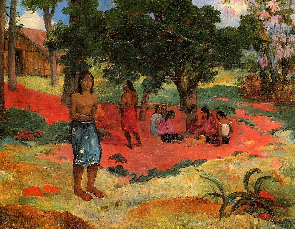 "artist-gauguin: "" Whispered Words by Paul Gauguin Medium: oil on canvas"""